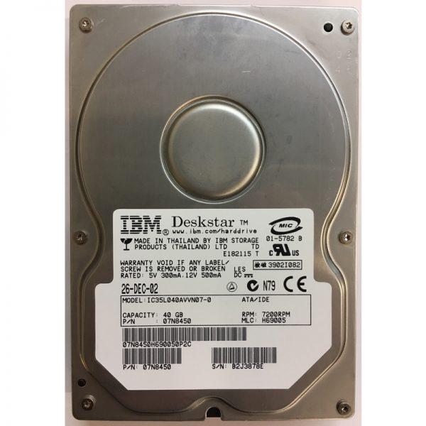 """07N8450 - Hitachi 40GB 7200 RPM IDE 3.5"""" HDD"""