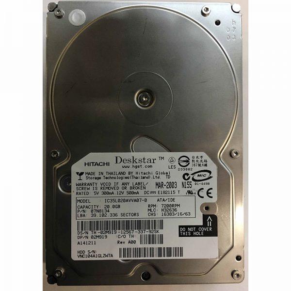 """07N8134 - Hitachi 20GB 7200 RPM IDE 3.5"""" HDD"""