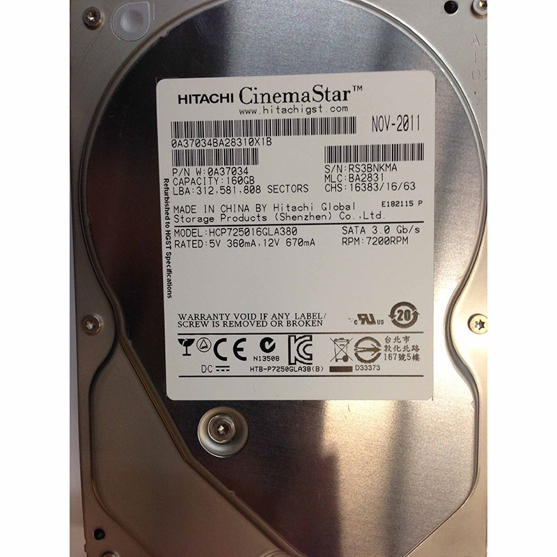 7200RPM SATA Hitachi 160GB 0A31710