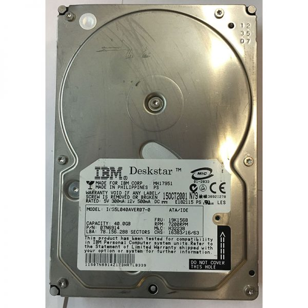 "07N6914 - Hitachi 40GB 7200 RPM IDE 3.5"" HDD"