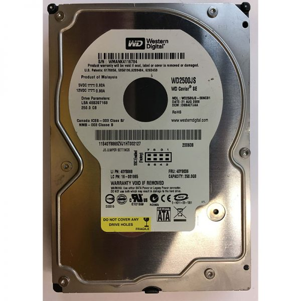 "001965 - IBM 250GB 7200 RPM IDE 3.5"" HDD"