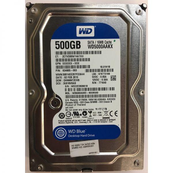 """WD5000AAKX - Western Digital 500GB 7200 RPM SATA 3.5"""" HDD"""