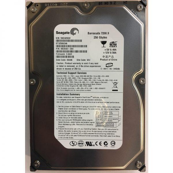 "9DB043-304 - Seagate 250GB 7200 RPM IDE 3.5"" HDD"