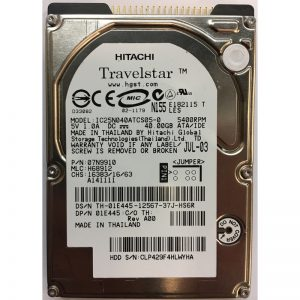 "IC25N040ATCS05-0 - Hitachi 40GB 5400 RPM IDE 2.5"" HDD"