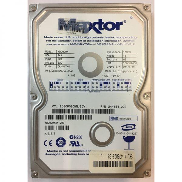 """4D080H4241233 - Maxtor 80GB 5400 RPM IDE 3.5"""" HDD"""
