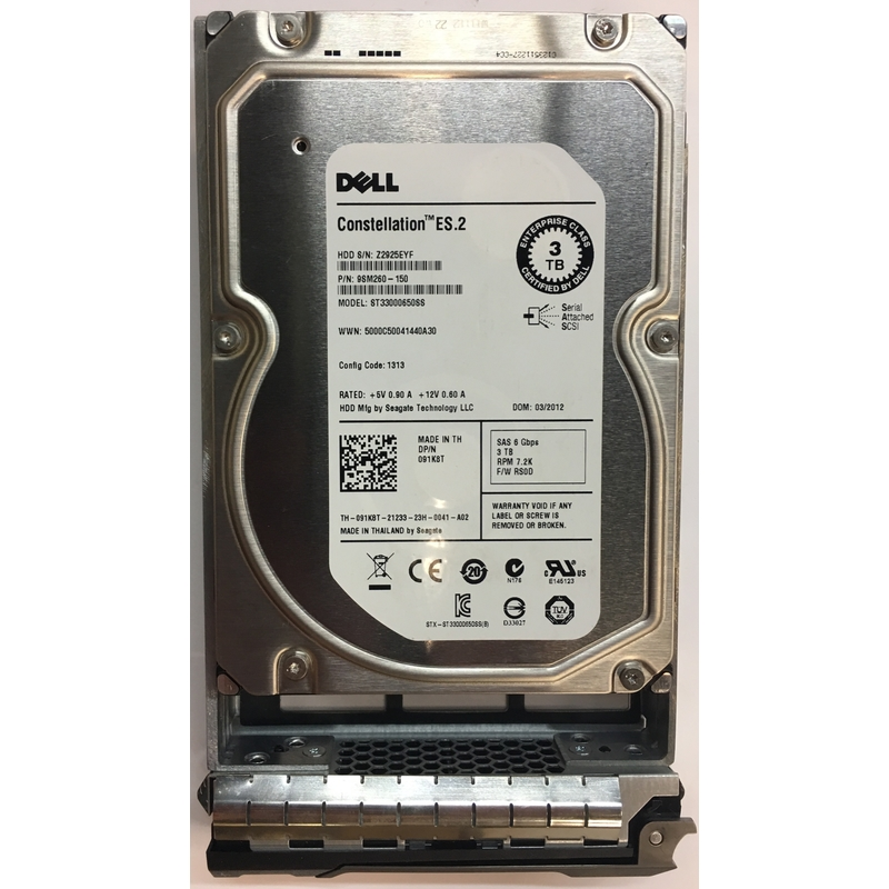 "Dell//Seagate 91K8T ST33000650SS 3TB 7200RPM 6Gb//s 3.5/"" SAS HDD R SERIES TRAY"