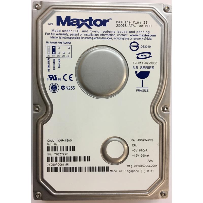 6Y250p0-062811 Maxtor 250Gb 7200Rpm Hard Drive P//N 6Y250p0-062811