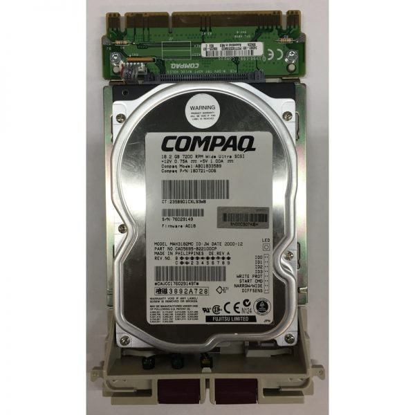 "AB018335B9 - Compaq 18GB 7200 RPM SCSI 3.5"" HDD 80 pin"